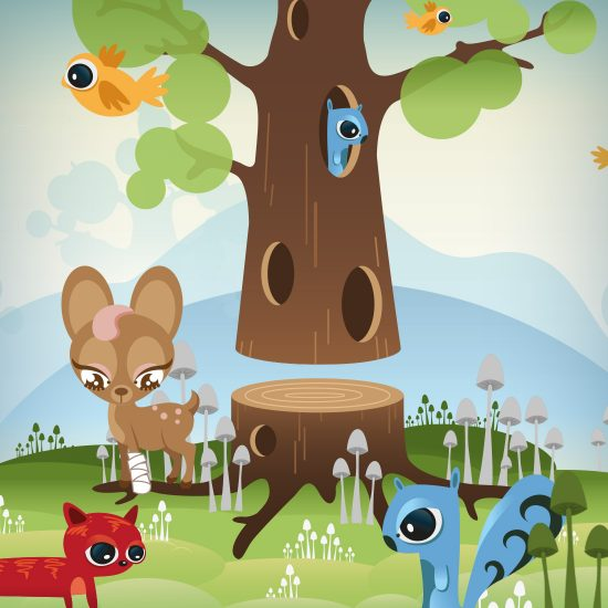 Squirrel Tree Illustration